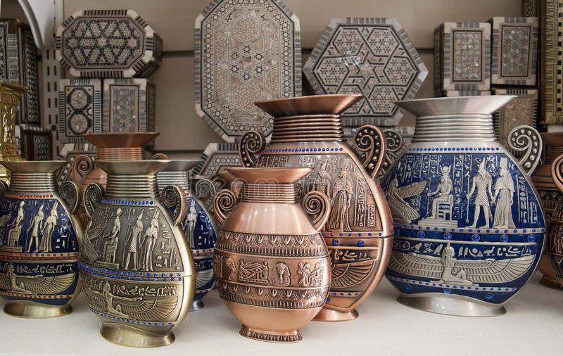 Egyptian Vases Are On The Showcase Stock Image Image Of Bronze