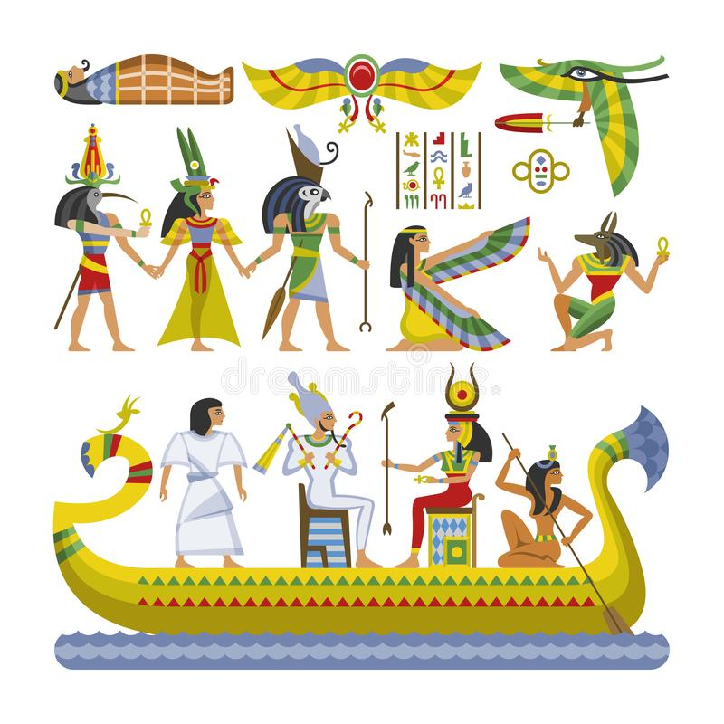 Egyptian vector pharaoh character ancient man woman god ra anubis statue on boat of Egypt culture historical royalty free illustration
