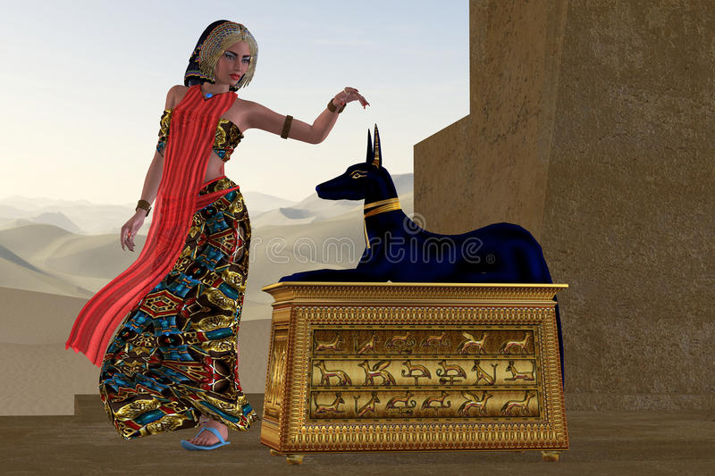 Egyptian Woman and Anubis Statue royalty free illustration