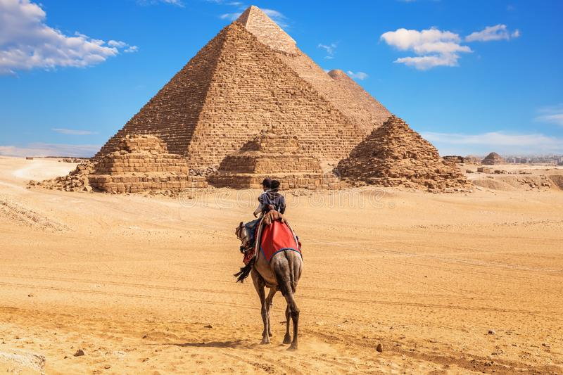Egyptians on camels near the complex of Giza Pyramids, Egypt royalty free stock images