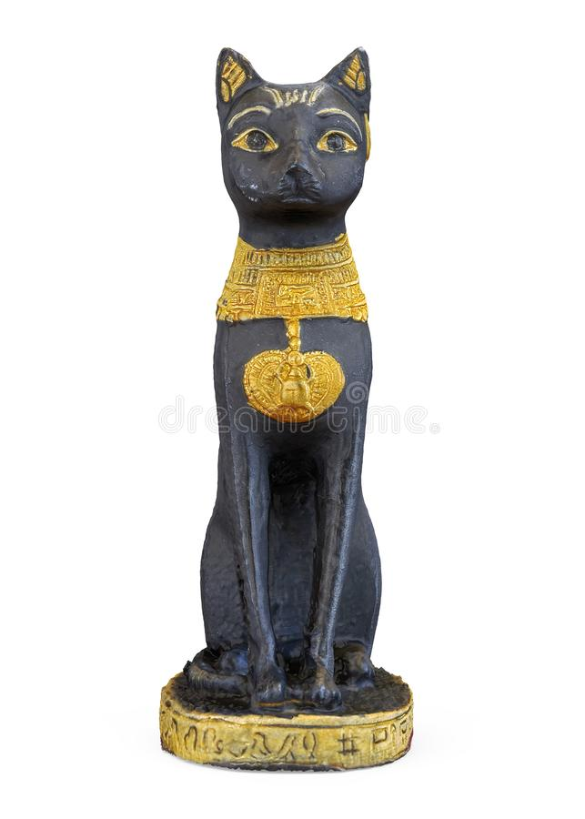 Egyptier Cat Statue Isolated royaltyfri illustrationer