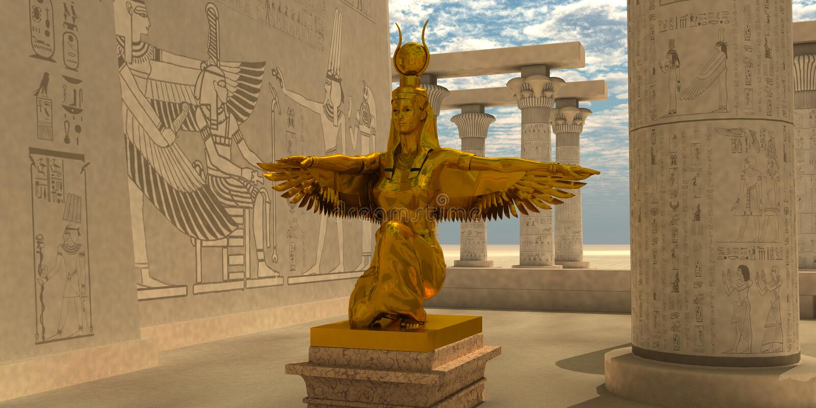 Egyptier Isis Statue stock illustrationer