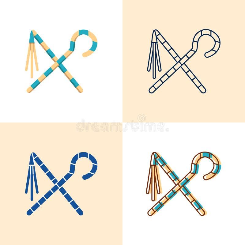 Egyptisch die oplichter en dorsvlegelpictogram in vlakke en lijnstijl wordt geplaatst vector illustratie
