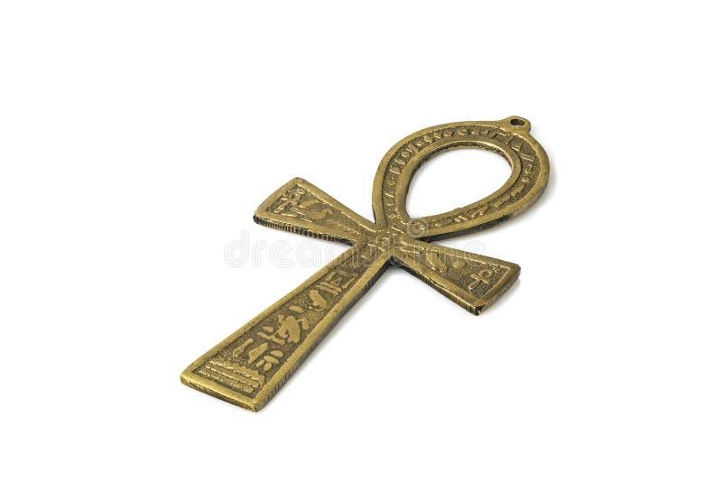 Egyptisch die symbool van het leven Ankh op wit met schaduwen wordt geïsoleerd stock afbeeldingen