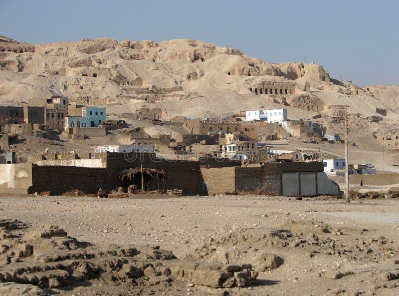 Egyptisch dorp stock afbeelding