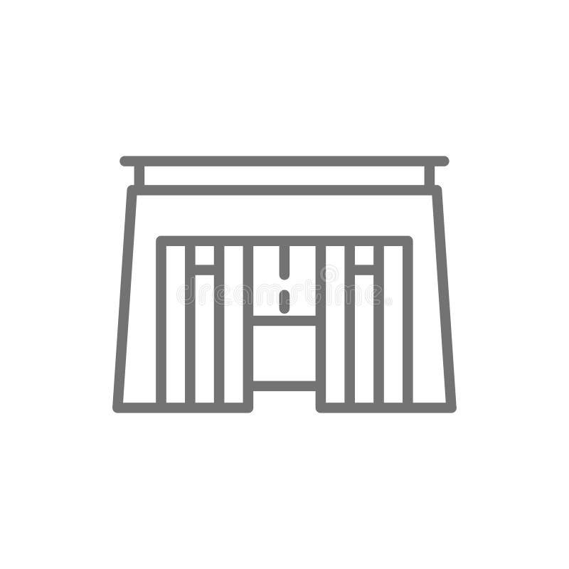 Egyptisch graf, de lijnpictogram van de faraosarcofaag vector illustratie