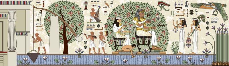 Egyptisch hiëroglief en symbool stock illustratie