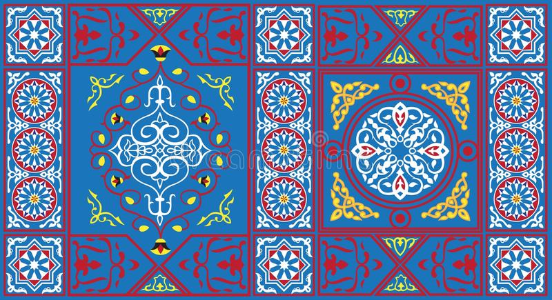 Egyptisch Patroon 1 van de Stof van de Tent blauw royalty-vrije illustratie