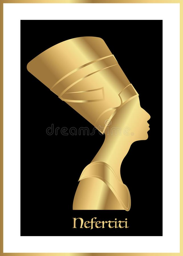 Egyptisch silhouetpictogram Koningin Nefertiti Vector geïsoleerd portretprofiel royalty-vrije illustratie