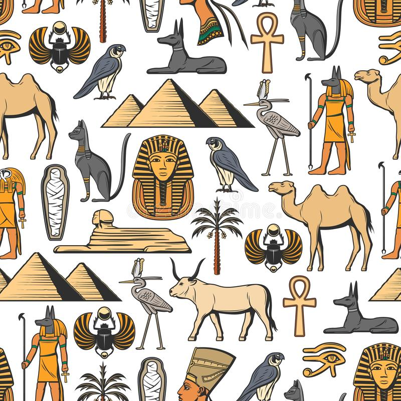Egyptisch symbolen vector naadloos patroon royalty-vrije illustratie