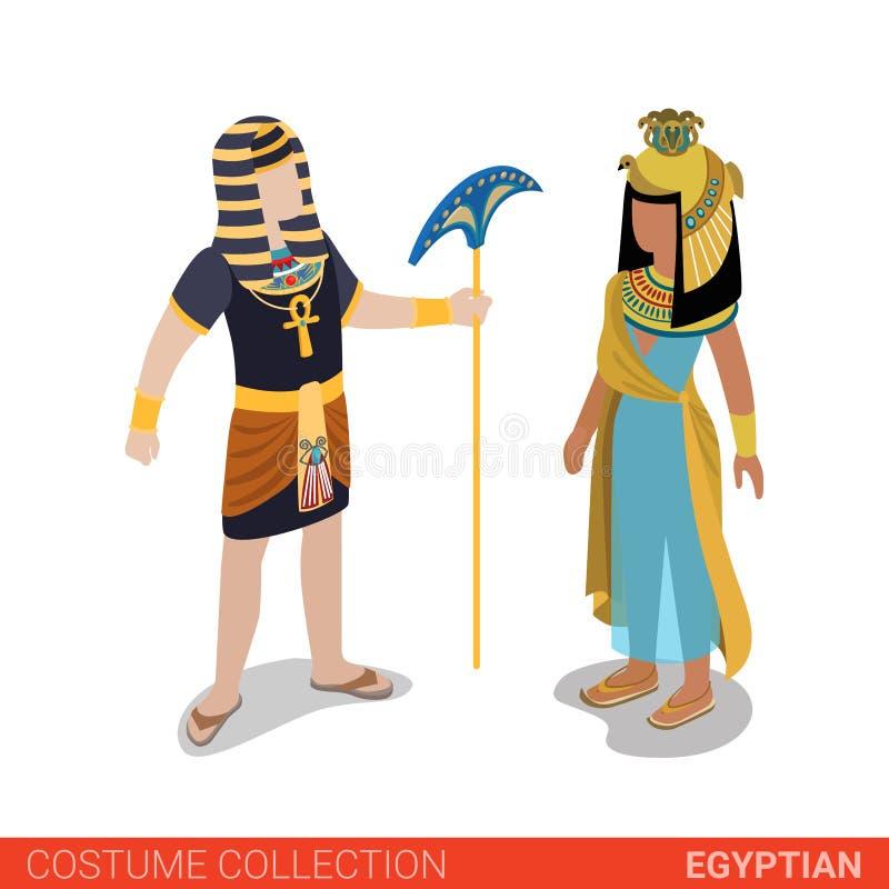 Egyptische 3d isometrische het kostuuminzameling van de Faraoprinses vlak vector illustratie