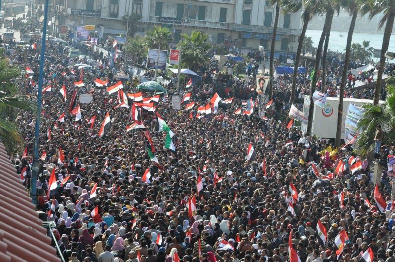 Egyptische demonstratiesystemen in Alex stock fotografie