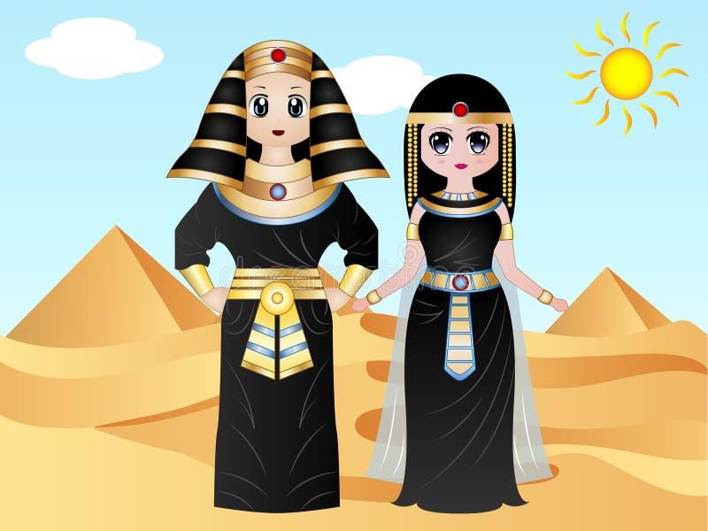 Egyptische Faraokostuums stock illustratie