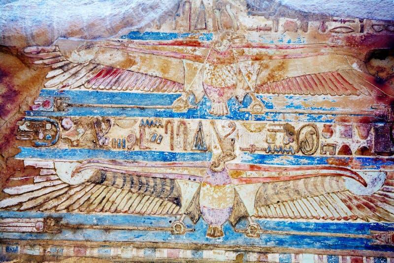 Egyptische fresko royalty-vrije stock afbeeldingen
