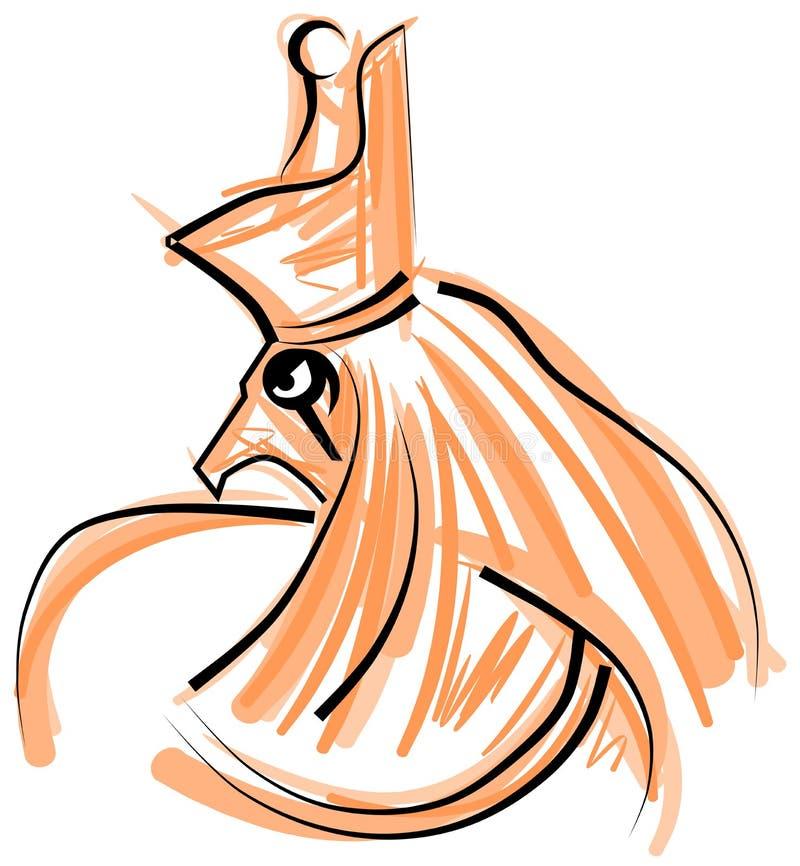 Egyptische god gestileerde Horus stock illustratie