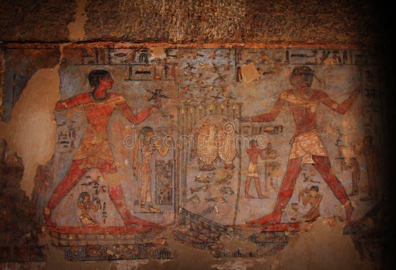Egyptische Hiërogliefen stock foto's