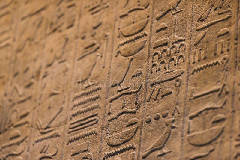 Egyptische hiërogliefen in detail stock foto's