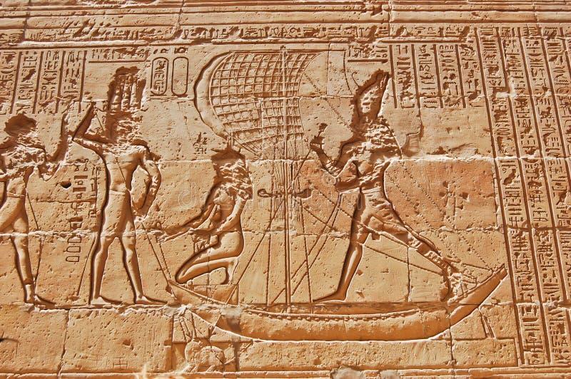 Egyptische hiërogliefen op muur, Egypte royalty-vrije stock afbeeldingen