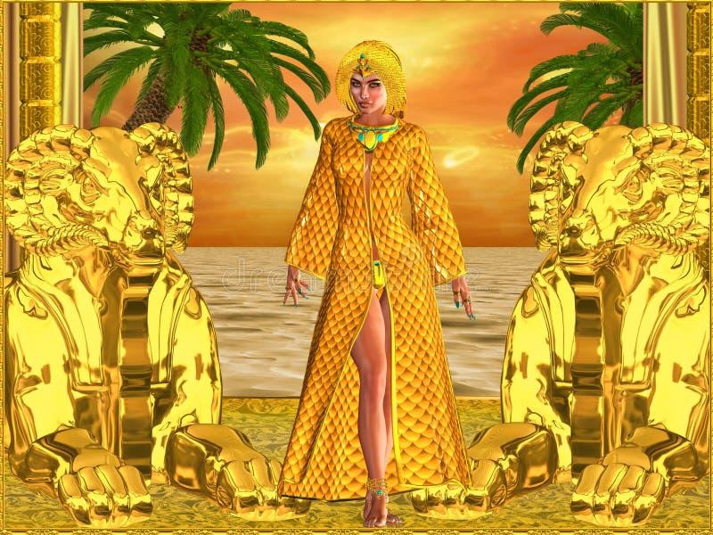 Egyptische koninklijke vrouw status stock illustratie