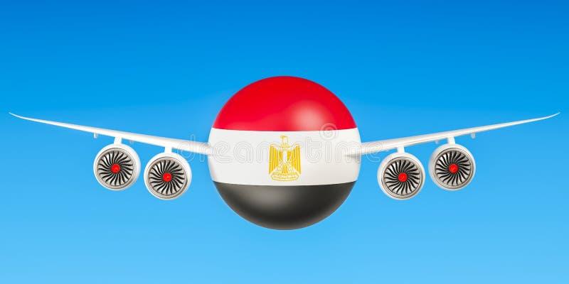 Egyptische luchtvaartlijnen en flying& x27; s, vluchten aan het concept van Egypte 3d ren vector illustratie