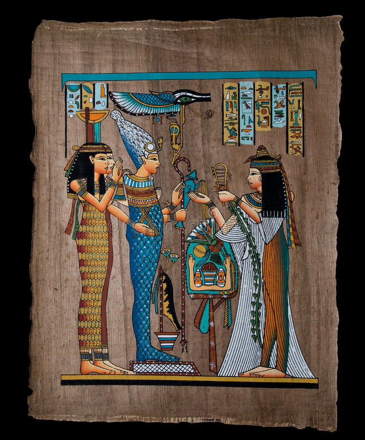 Egyptische papyrus stock afbeeldingen