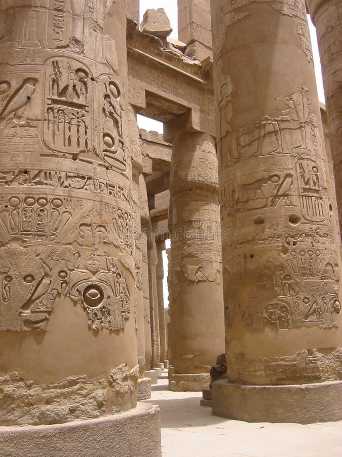 Egyptische pijlers stock afbeeldingen