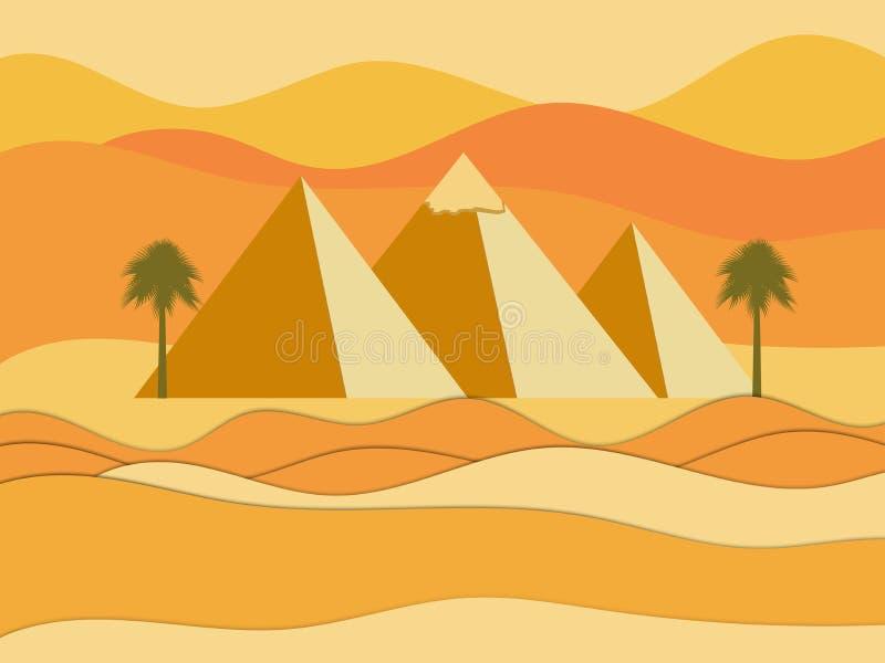 Egyptische Piramides Zon over de piramides Woestijn vector illustratie