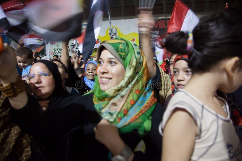 Egyptische revolutiemeisjes stock afbeelding