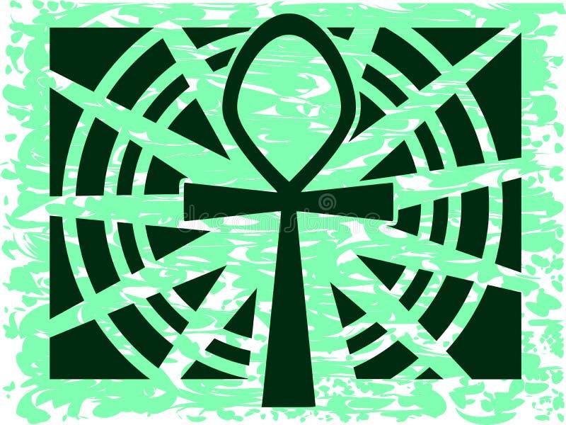 Egyptische Sleutel van het leven op abstracte achtergrond vector illustratie