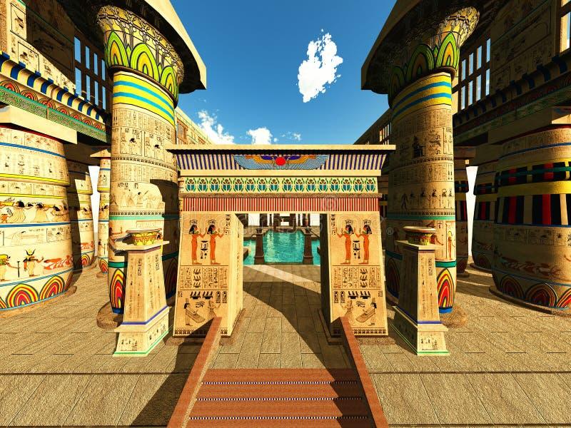 Egyptische tempel stock illustratie
