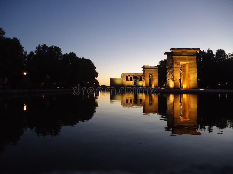 Egyptische Tempel in Madrid Spanje stock foto