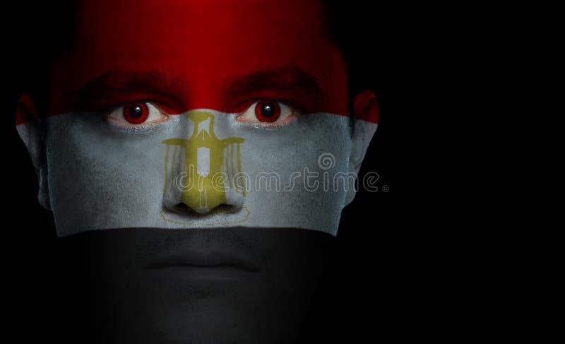 Egyptische Vlag - Mannelijk Gezicht royalty-vrije stock foto