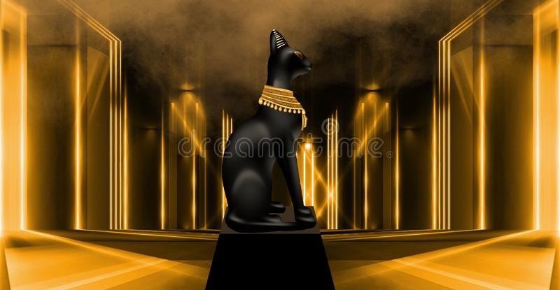 Egyptisk bakgrund, en korridor med kolonner i det guld- ljuset, str?larna av ljus royaltyfri illustrationer