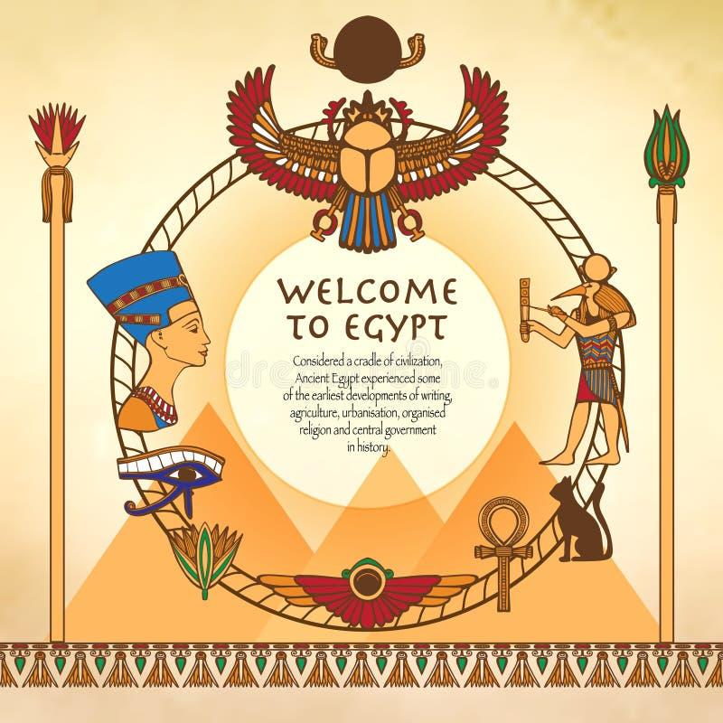 Egyptisk bakgrund med ramen stock illustrationer