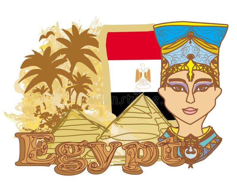 Egyptisk drottning cleopatra på bakgrunden av flaggan vektor illustrationer