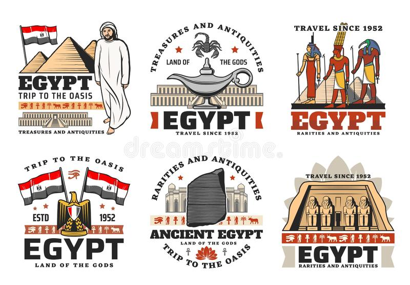 Egyptisk forntida pyramid, gudar, loppgränsmärke royaltyfri illustrationer