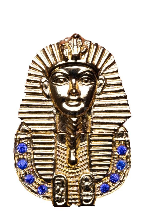 Egyptisk garneringbakgrund Närbild av detaljen av den egyptiska metalliska pyramiden som isoleras på en vit bakgrund Pharao i gul royaltyfri foto
