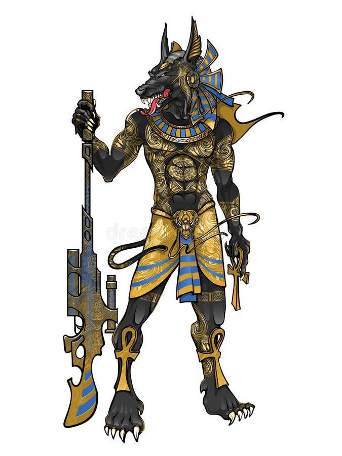 Egyptisk gud av död Anubis med vapen royaltyfri illustrationer