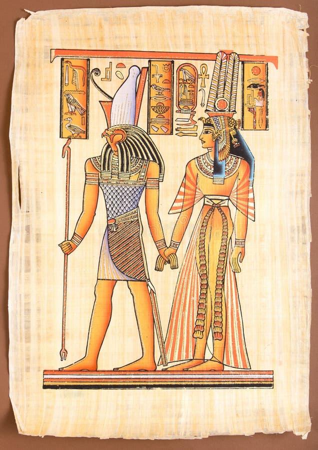 Egyptisk gud Horus med drottningen Cleopatra stock illustrationer