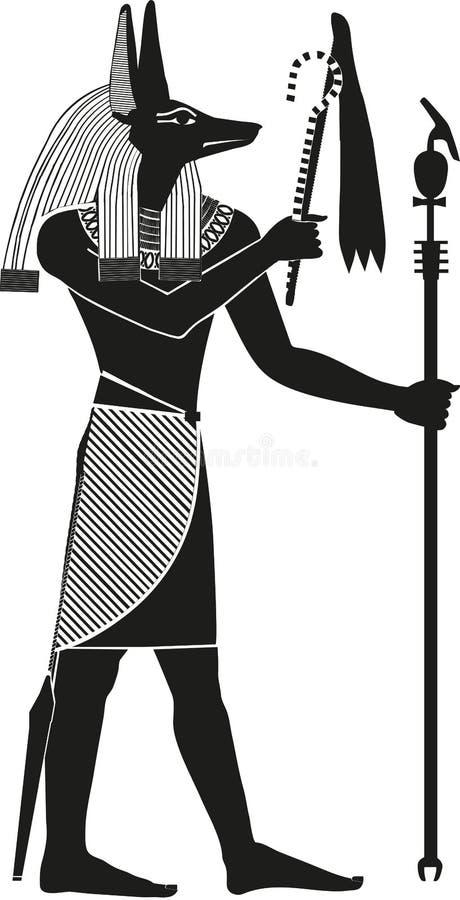 Egyptisk gudAnubis kontur royaltyfri illustrationer