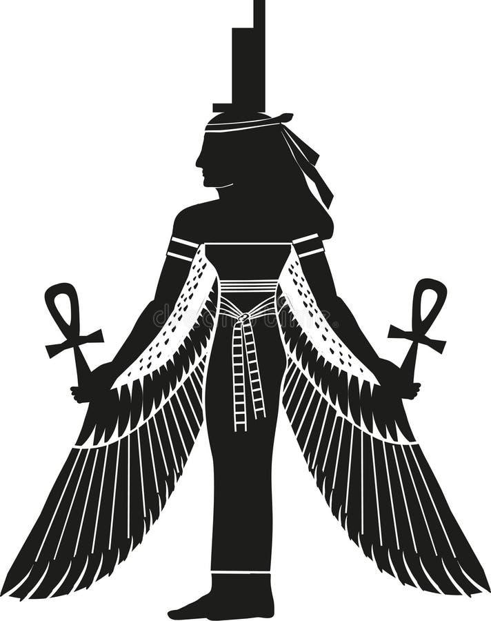 Egyptisk gudinna Isis Silhouette royaltyfri illustrationer
