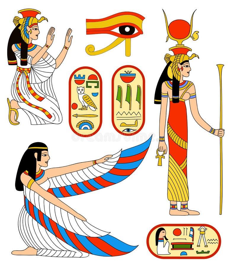 egyptisk gudinnaisis royaltyfri illustrationer