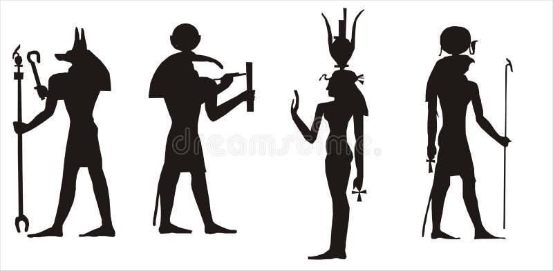 egyptisk gudsilhouette royaltyfri illustrationer