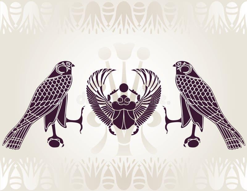 egyptisk horusscarabstencil royaltyfri illustrationer