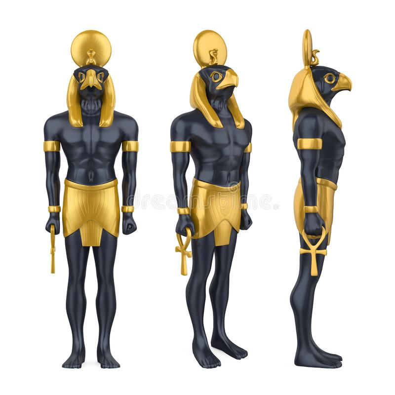 Egyptisk isolerad gudHorus staty stock illustrationer