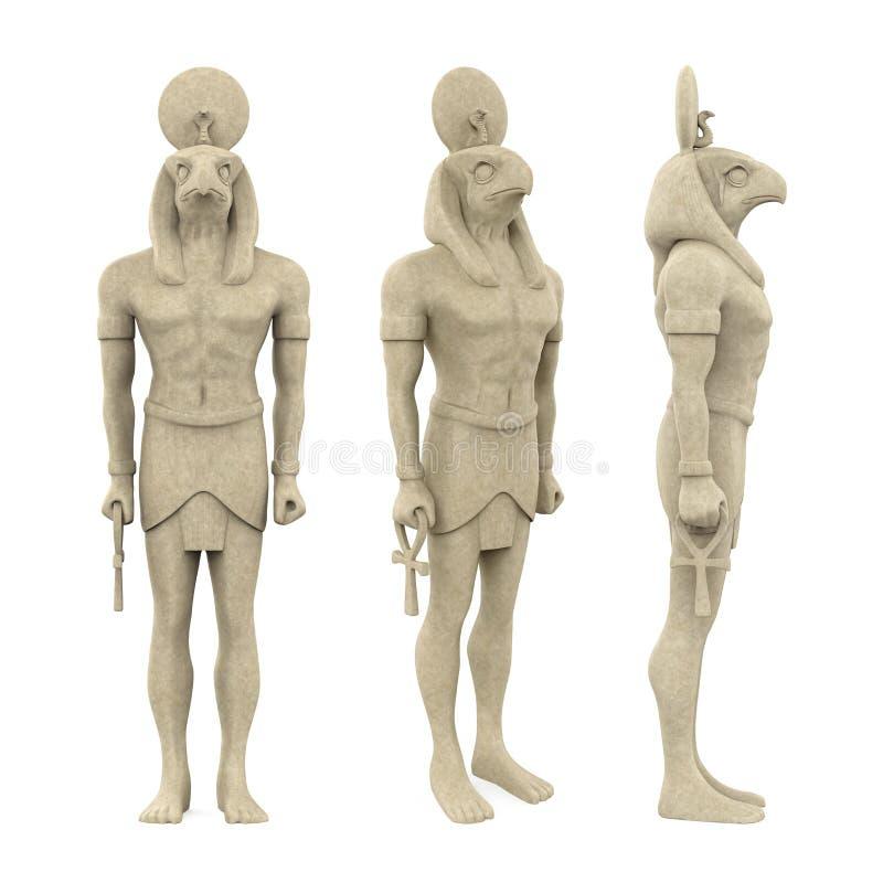 Egyptisk isolerad gudHorus staty royaltyfri illustrationer