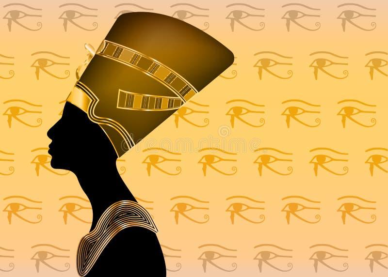 Egyptisk kontursymbol Drottning Nefertiti Vektorståendeprofil med guldjuvlar och ädelstenar royaltyfri illustrationer