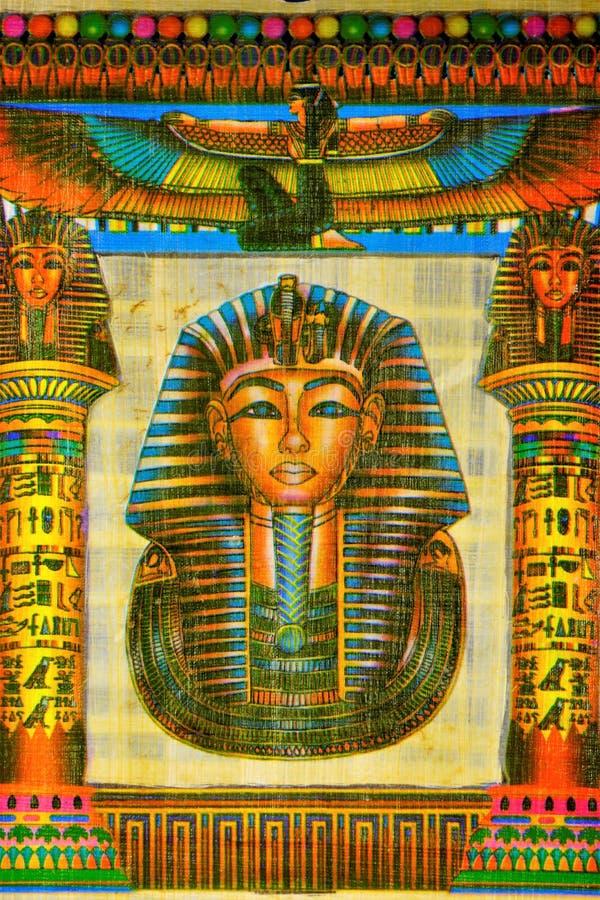 Egyptisk konung Tutankhamun för papyrus Papyrushandstilmaterial, i forntida tider som är gemensamma i Egypten I konsten av den fo arkivbild
