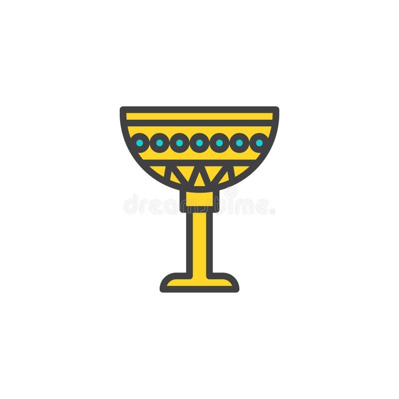 Egyptisk kopp fylld översiktssymbol stock illustrationer