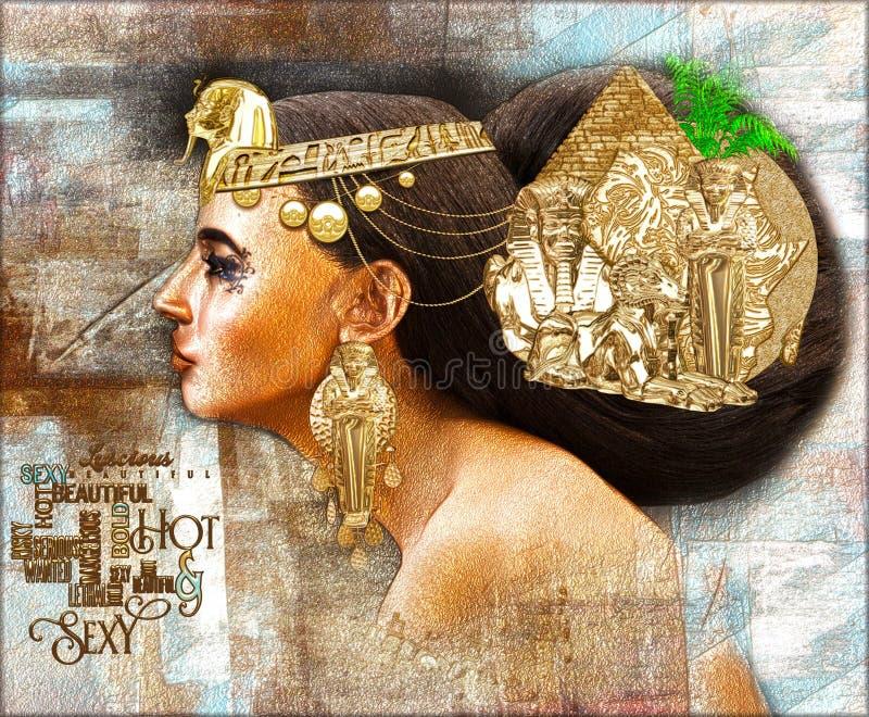 Egyptisk kvinna, digital konstplats för härlig fantasi med pyramiden, sfinx, uraeus som utsöndrar skönheten, rikedom och unikhet  royaltyfri illustrationer